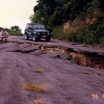 Slumping of road to Galway 's Souifriere, June 1996.