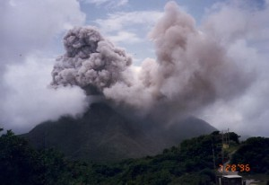 Vertical eruption column from Soufriere Hills, July 1996.