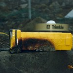 Damage to Trimble GPS receiver by Sept 17, 1996 eruption, receiver continued to work even with extensive exterior damage.