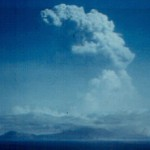 Sub-Plinian eruption cloud above Soufriere Hills, photo taken from Redonda Island.