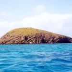 Columnar jointed lava. Small island off north coast of Providencia island.