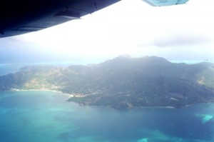 NW. Providencia showing the center of the island to right and Catalina Bay to left.