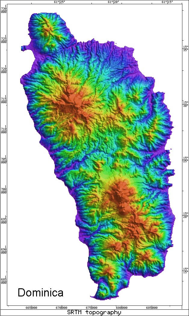 Caribbean Volcanoes » Radar Topography Map of Dominica