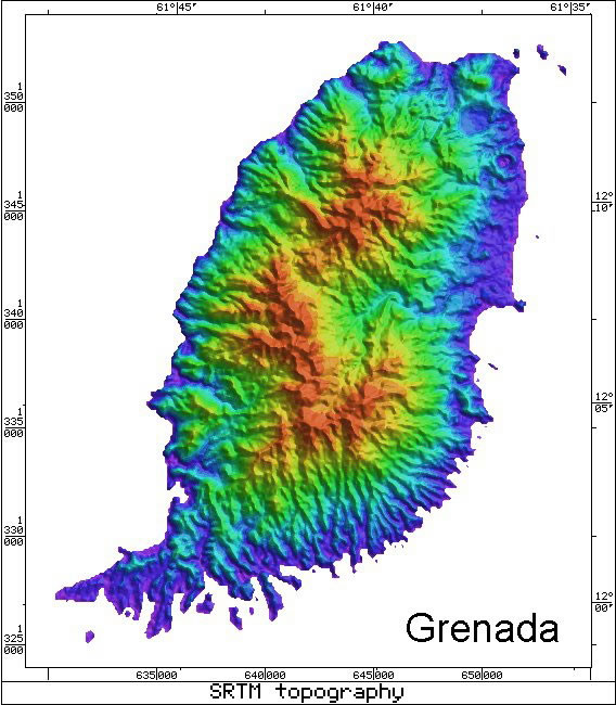 Caribbean Volcanoes Radar Topography Map of Grenada