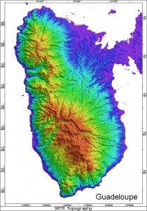 Radar Topography Map of Guadeloupe