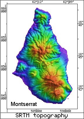 Caribbean Volcanoes Radar Topography