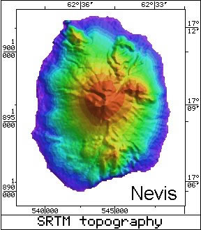 Radar Topography Map of Nevis
