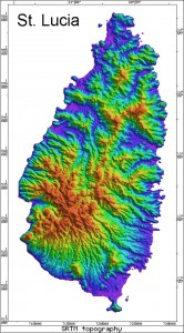 Radar Topography Map of St. Lucia