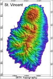 Radar Topography Map of St. Vincent