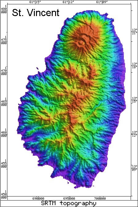Caribbean Topographic Map.Caribbean Volcanoes Radar Topography