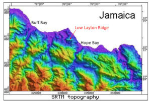 Radar Topography Map of Jamaica