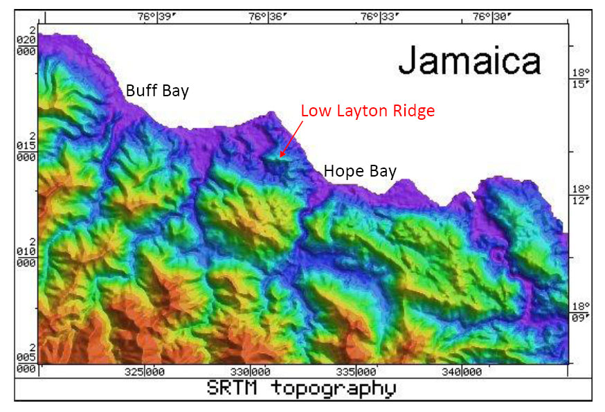 Radar Topography Map of Jamaica